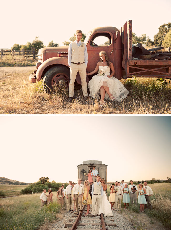 bride and groom by old truck