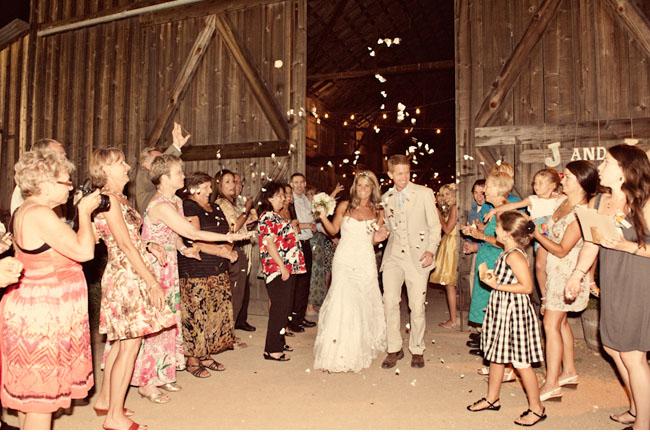 bride and groom reception exit