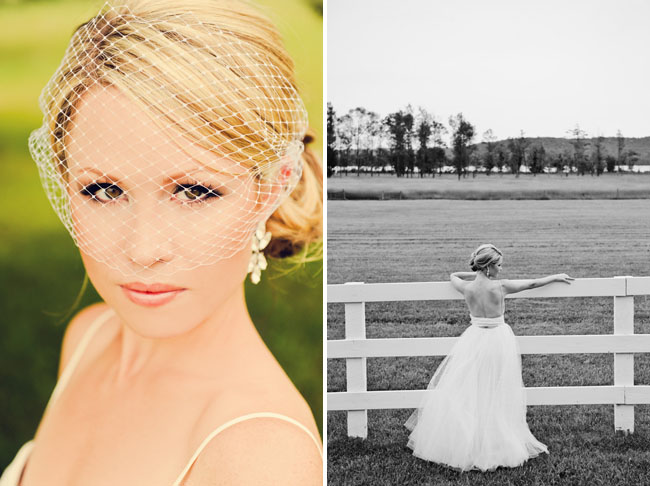 bride by white fence