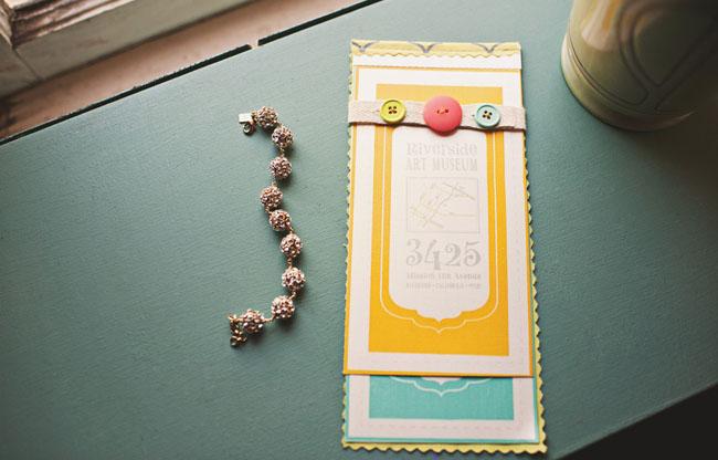 button wedding invitation