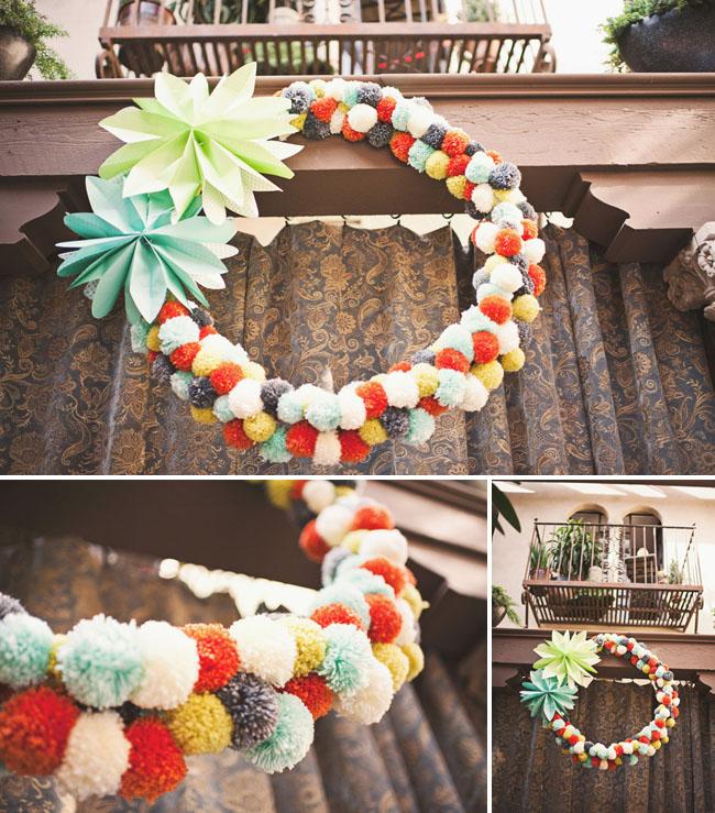 felt pom wreath