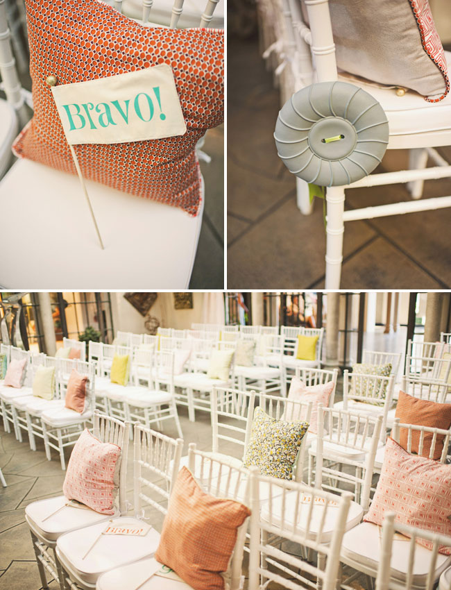wedding ceremony with pillows on seats