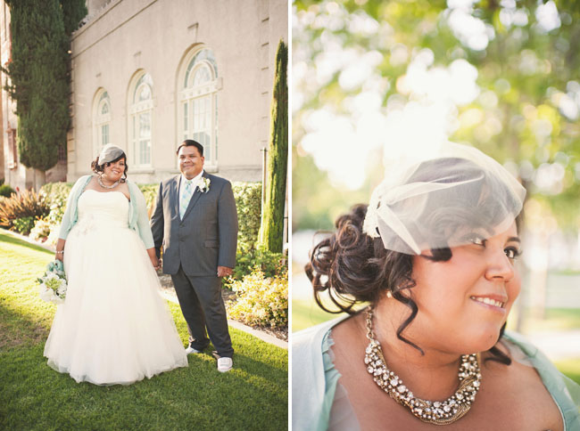 bride with chunky necklace and sweater