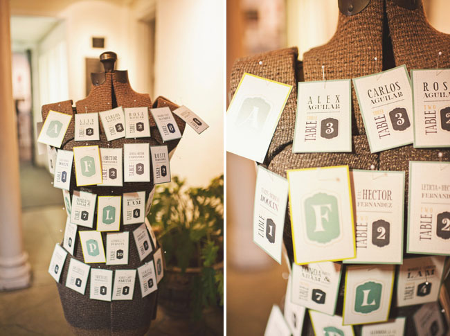 wedding table numbers on sewing model