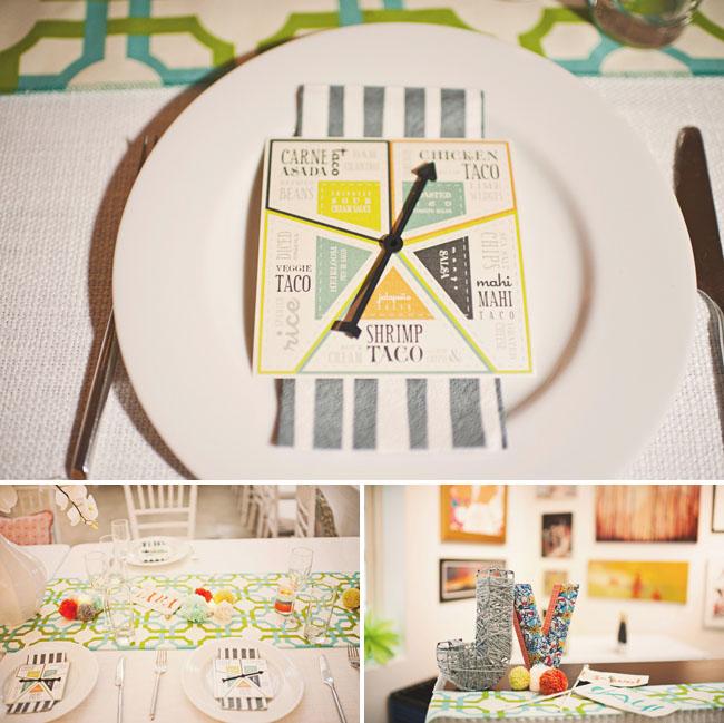 wedding menu with game card