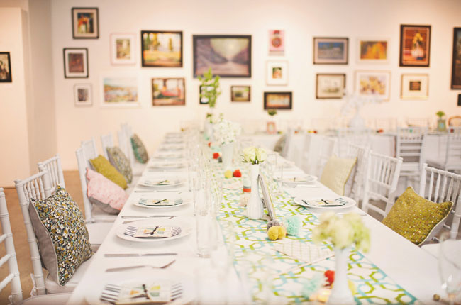 modern and bright wedding reception art musuem