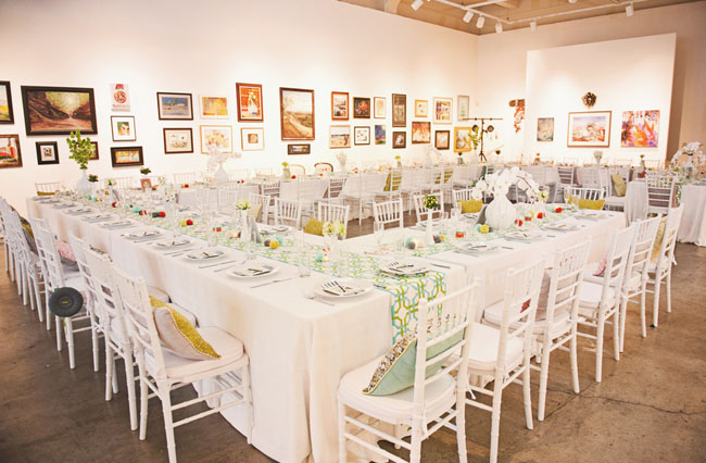 modern bright museum wedding reception