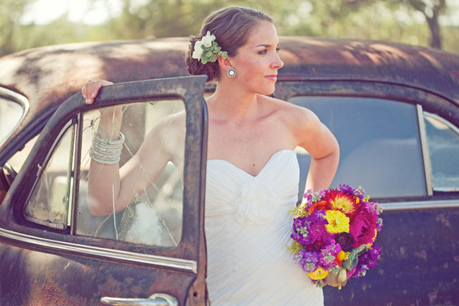 bride with old car