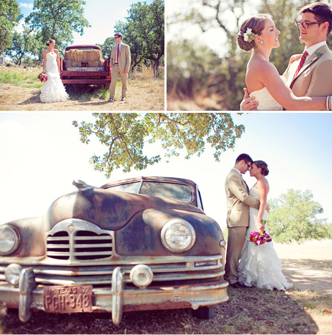 bride and groom with old truck