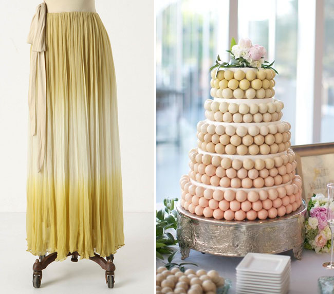 yellow ombre cake and dress