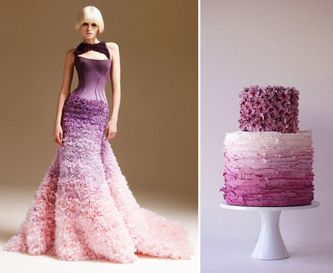 purple ombre cake and dress