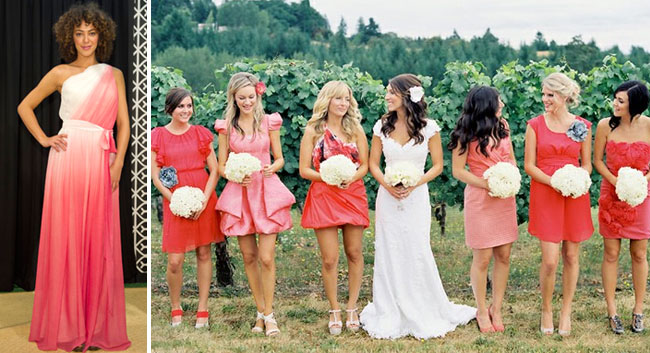 pink ombre bridesmaids