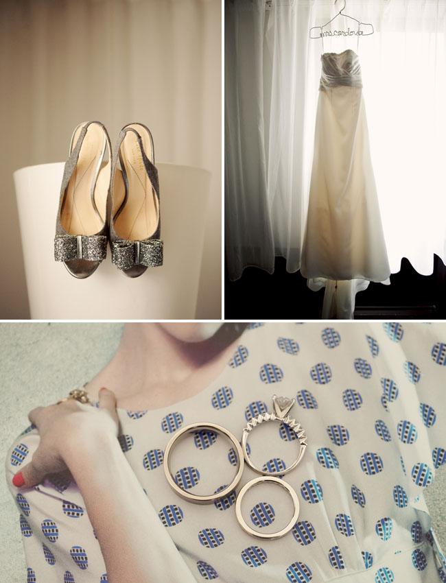 silver glitter bow heels