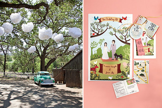 illustrated wedding invitation