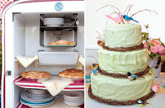 cake with birds and pies in vintage refrigerator