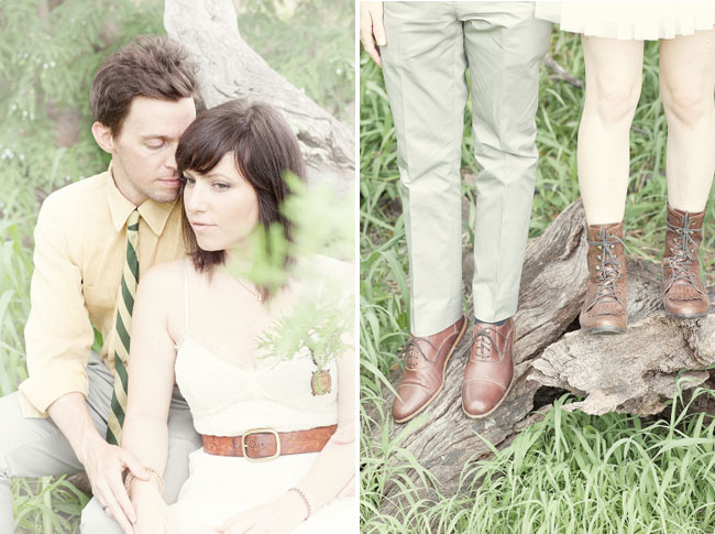 wedding dress with leather belt and boots