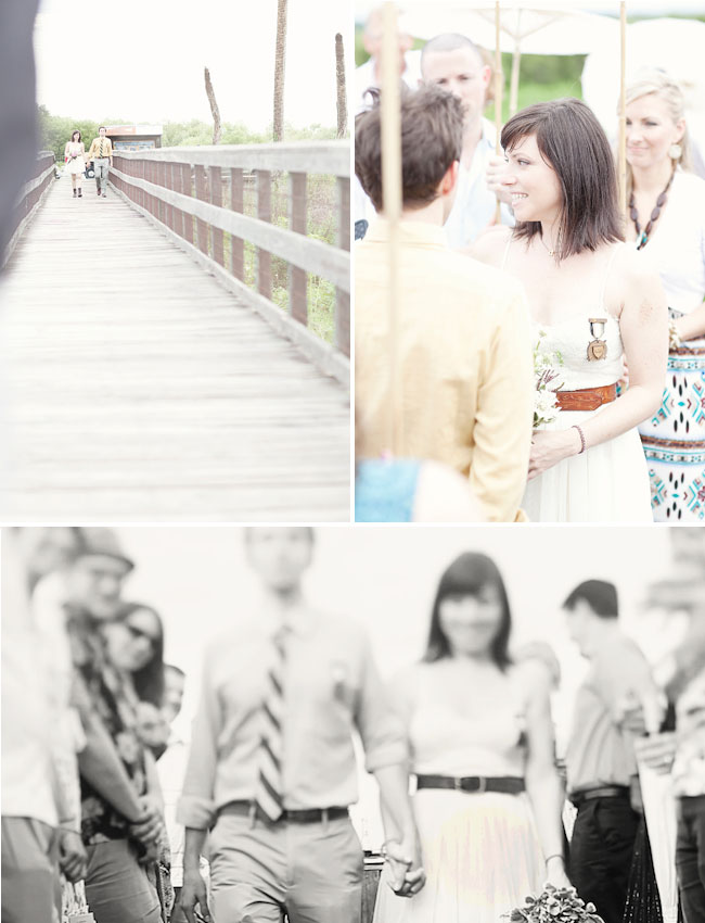 wedding on the pier of a swamp