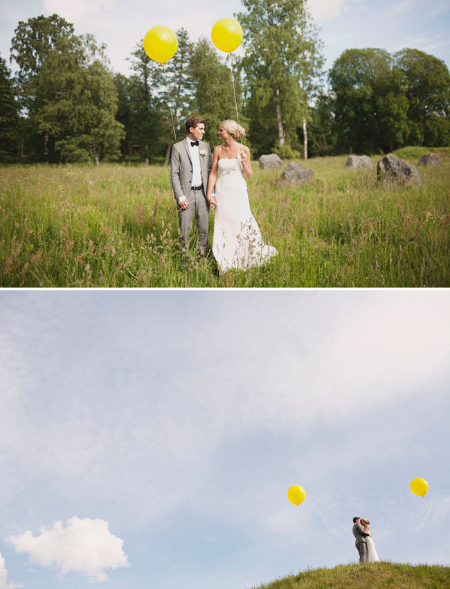 bride and groom with yellow balloons