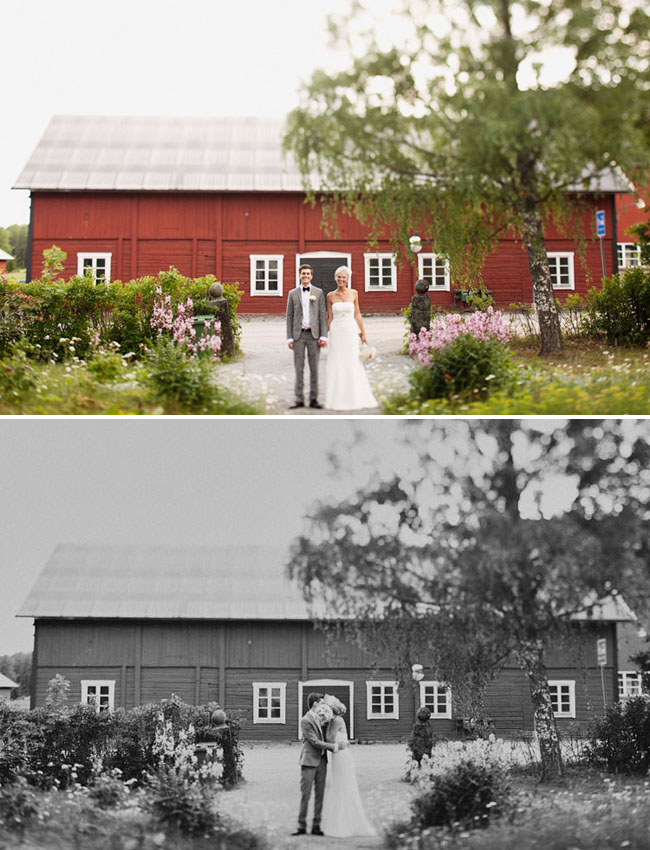 bride and groom at red house