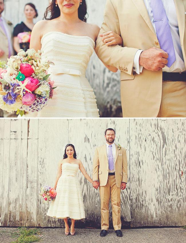 bride with short wedding dress