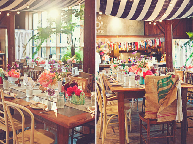 wedding with hanging striped fabric