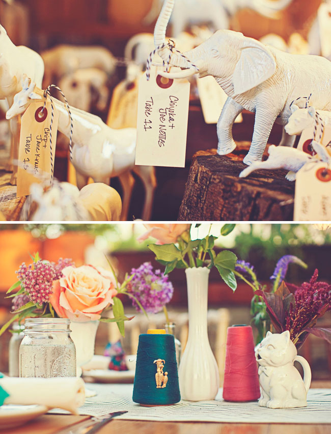 white ceramic elephants at wedding decor