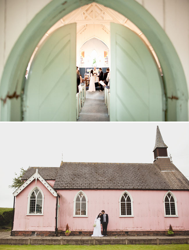 pink church wedding