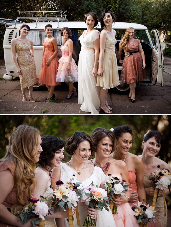 bridesmaids in vintage pink dresse