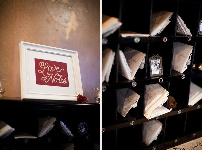 wedding love notes table