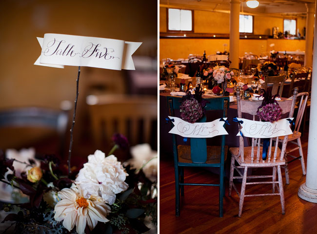 wedding reception tables with calligraphy