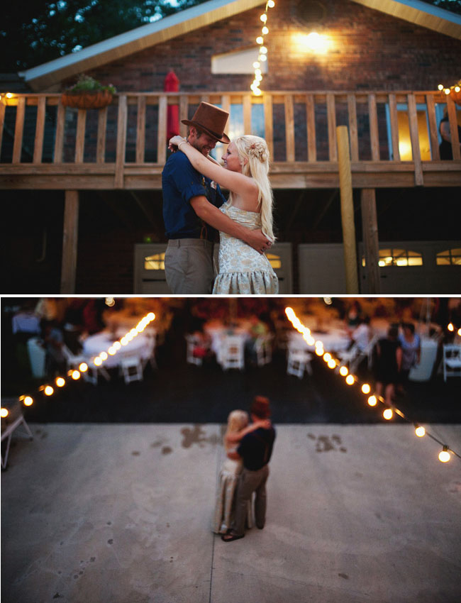 string lights at reception