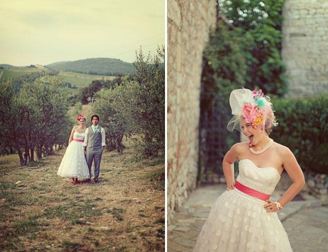 bride with pink wedding sash