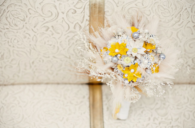 yellow fabric flower bouquet