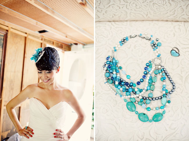 teal and blue necklace