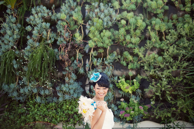 teal bridal hairpiece