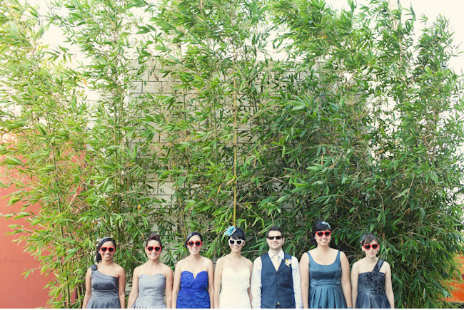 bridesmaids in heart-shaped sunglasses