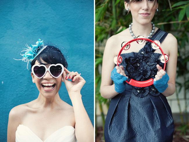 bride in heart shaped sunglasses