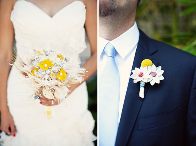 fabric flower boutonniere