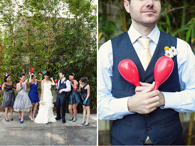 wedding party with maracas