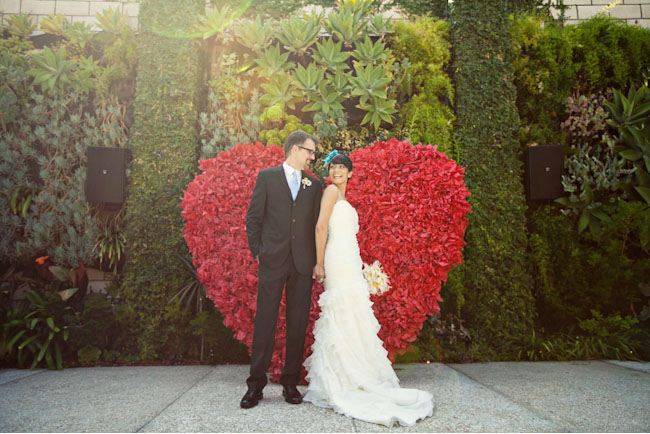 bride and groom at heart shaped altar