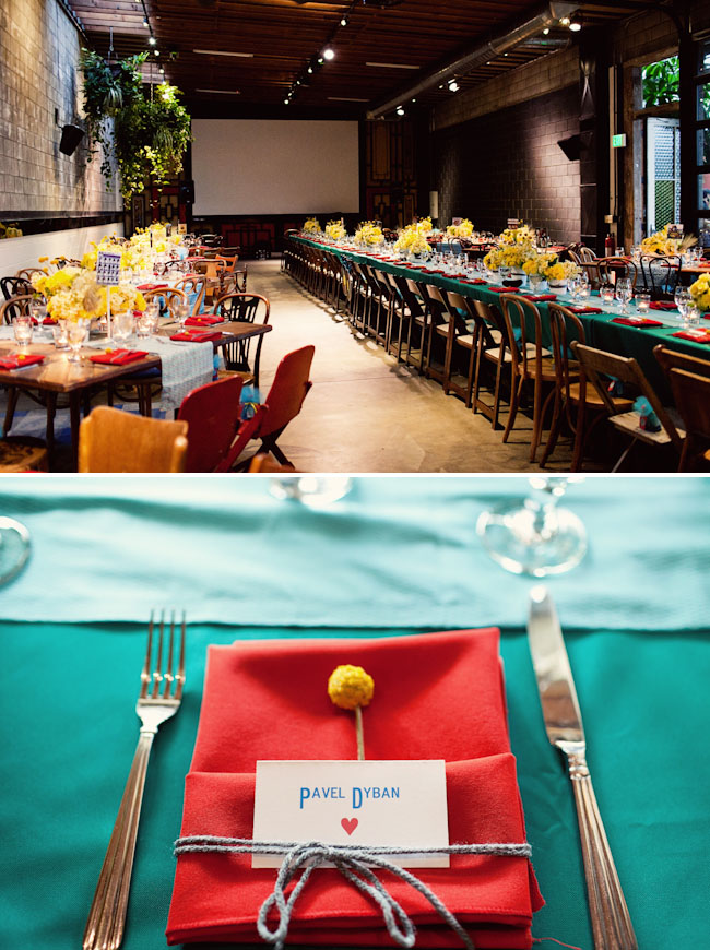 teal and red reception