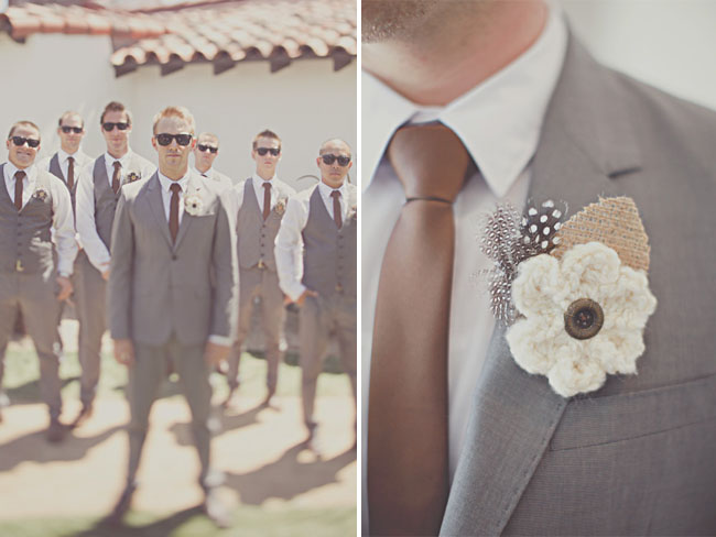 knitted flower boutonniere