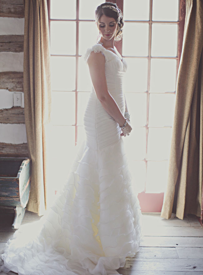 bride in ruffled dress