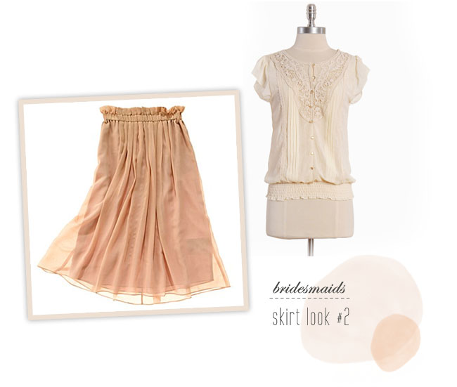peach bridesmaids skirt and top