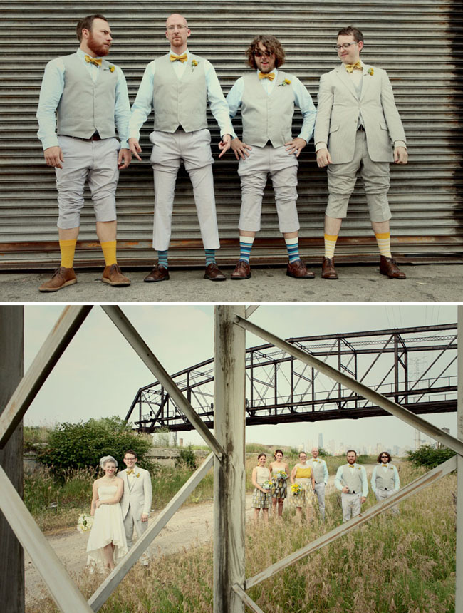groomsmen with different colored socks