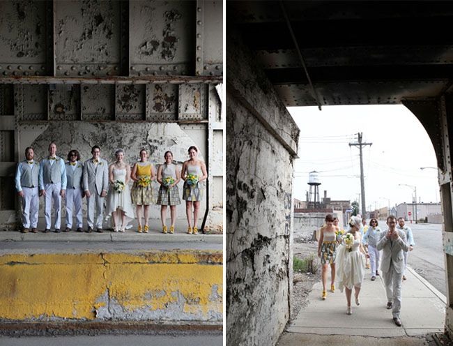 bridal party in city