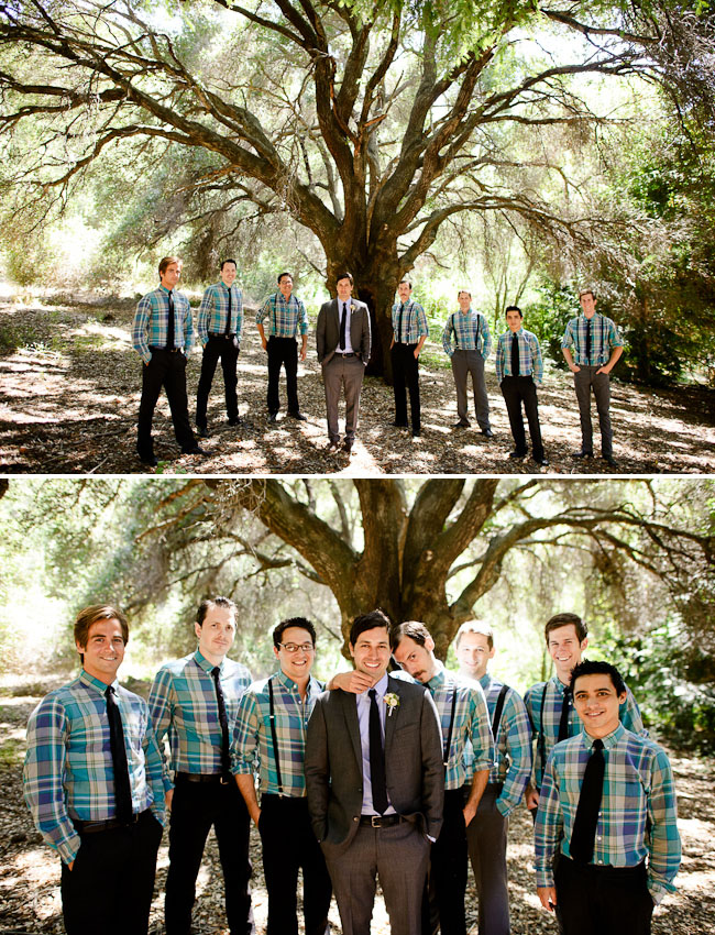 groomsmen in plaid