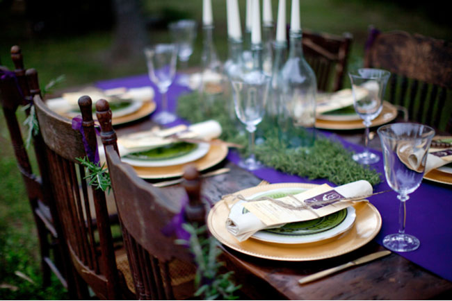 purple accents for table
