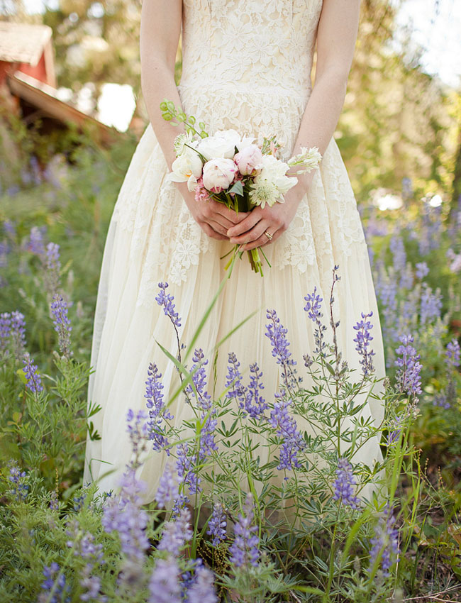 bride in lavender field