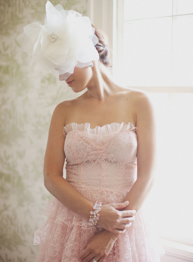 vintage pink lace wedding dress